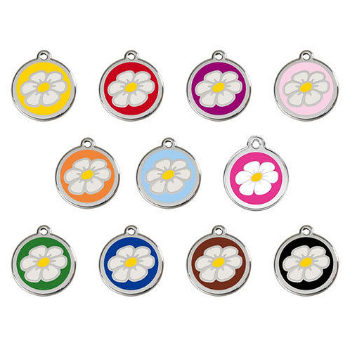 Red Dingo ID Tag - Stainless Steel/Enamel - Daisy - Various Sizes