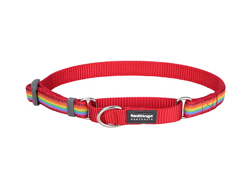 Red Dingo Half Check / Martingale Collar - Rainbow Red