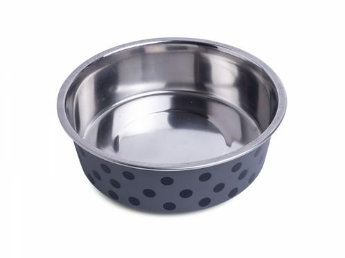Deli Bowl - Grey/Black Spots by Petface