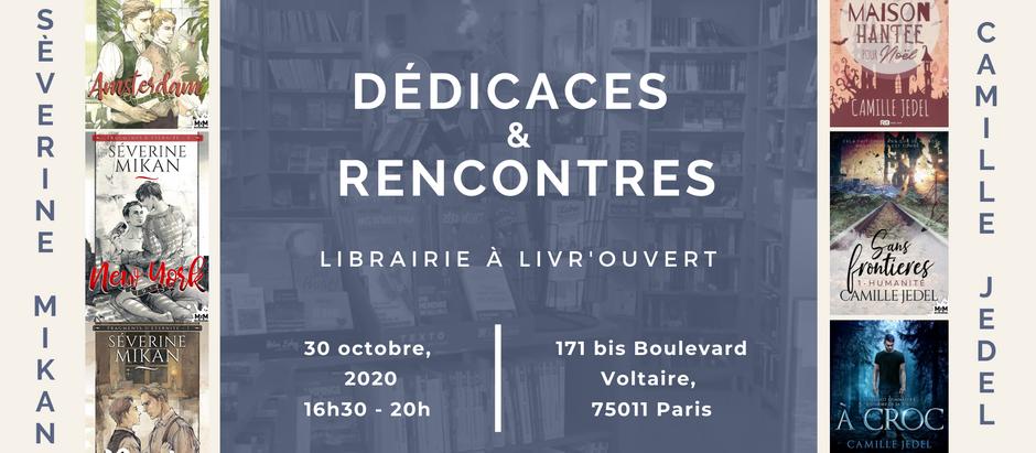 Rencontre & dédicaces à la librairie à Livr'ouvert, vendredi 30 octobre 2020