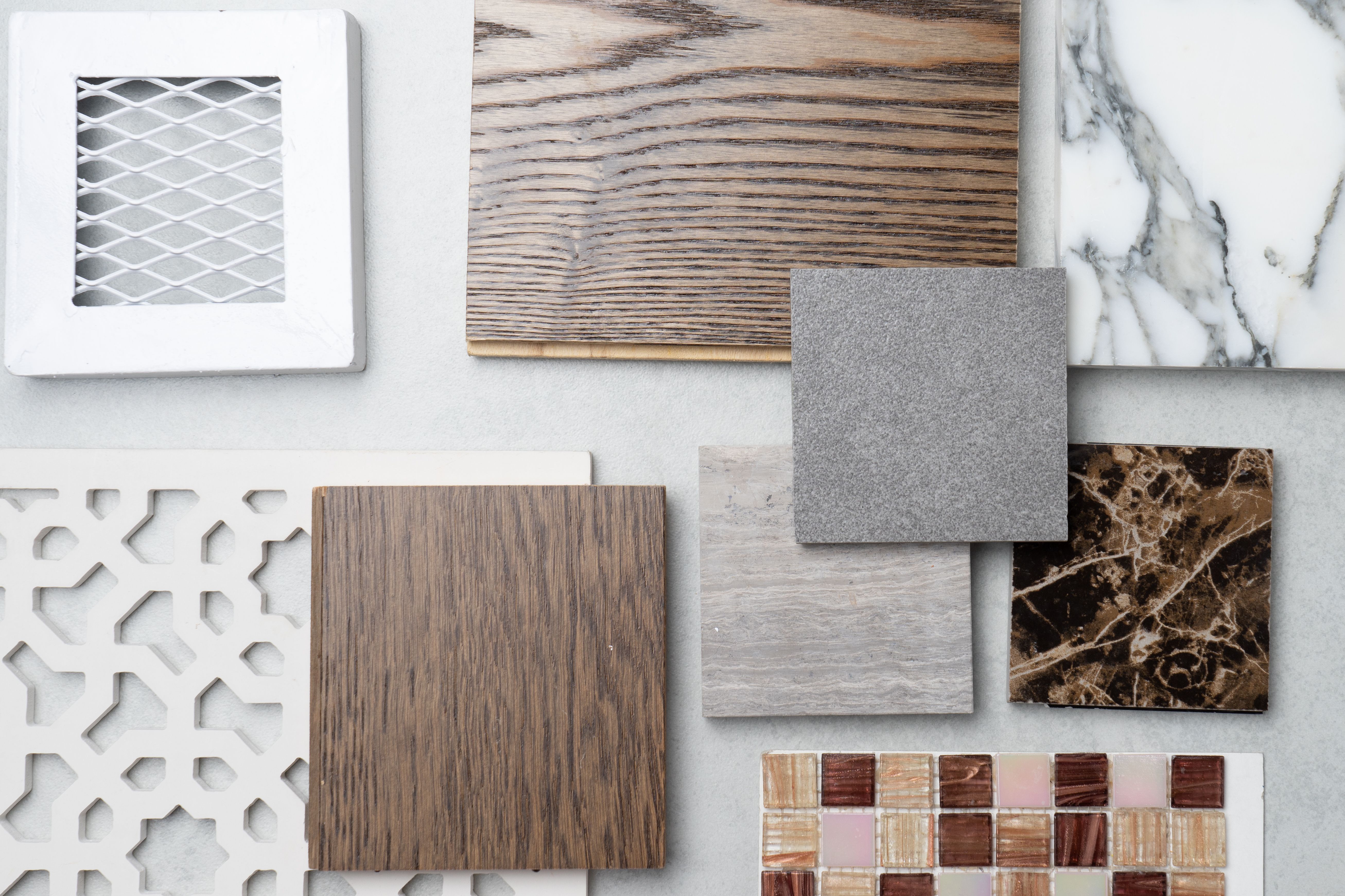 samples of material, wood , on concrete