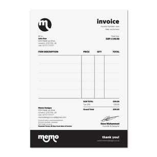Memo Designs Invoice