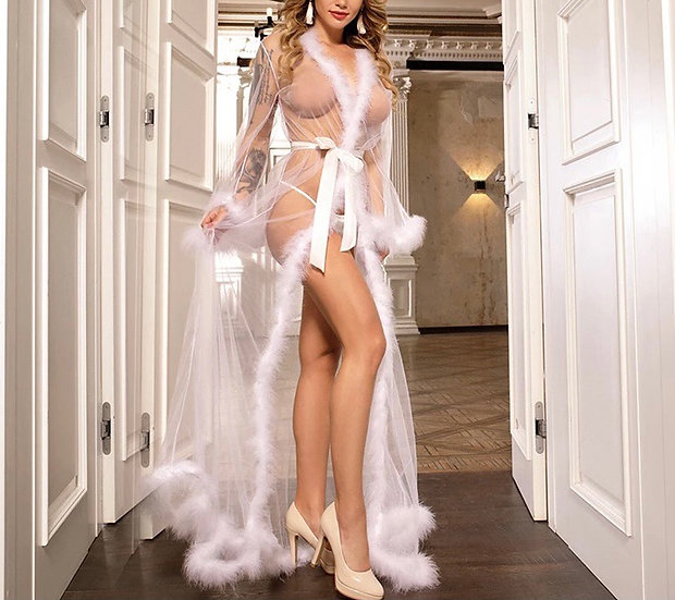 Feather Robe w/thong