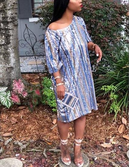 Bella Blue Sequins Dress