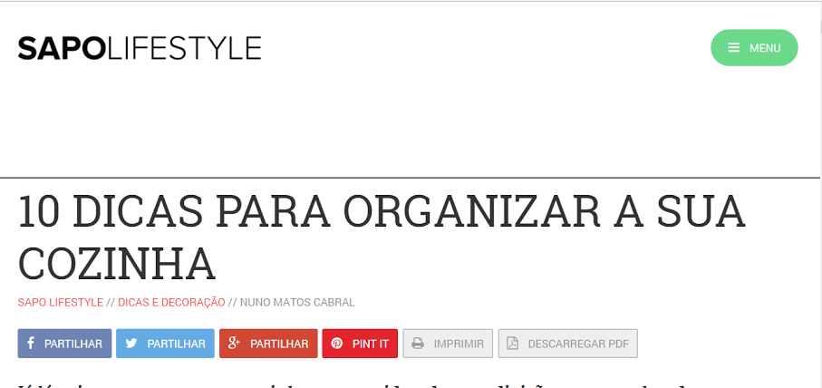Nuno Matos Cabral no Sapo Lifestyle