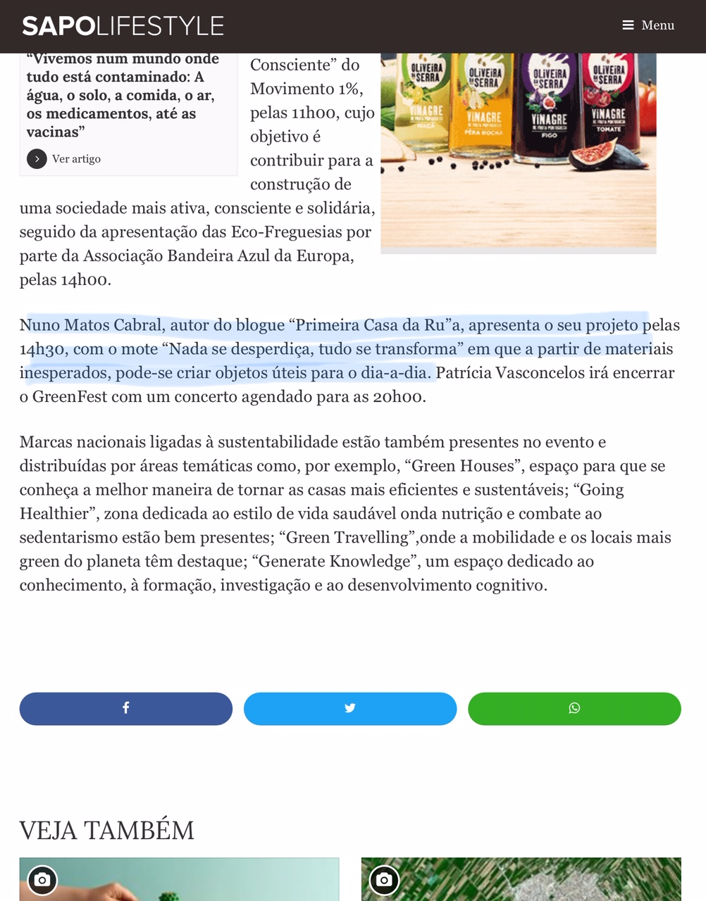 Nuno Matos Cabral _ Greenfest | Sapo