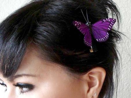 A Blue Car & Purple Butterflies