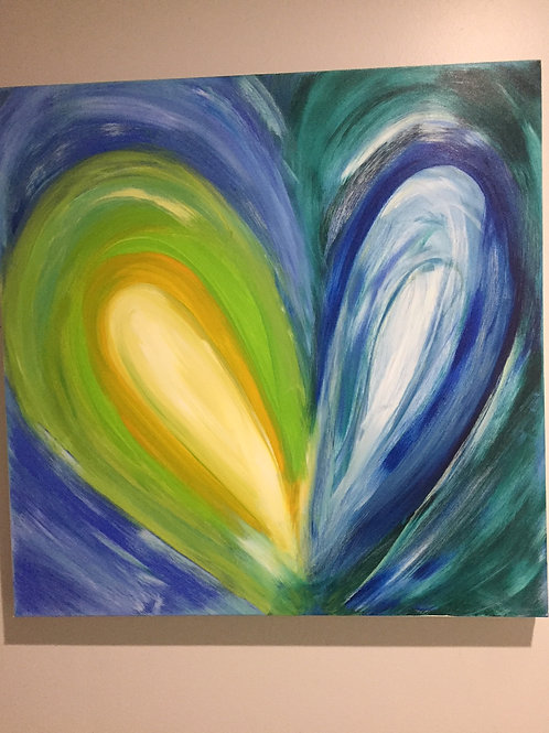 Blue Heart an original Acrylic Intuitive Channeled Painting