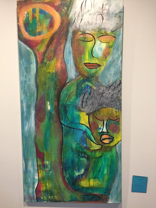 Mother & Child are One Original Acrylic Intuitive Channeled Painting