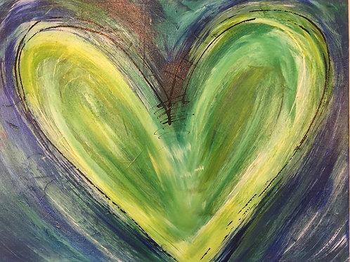 Bright Green Love  16 x 20