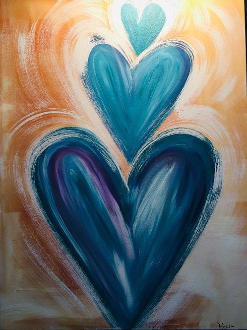 Three Hearts 18 x 24