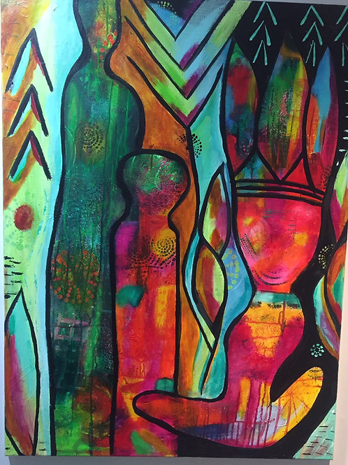 Teaching Stillness Original Acrylic Intuitive Channeled Painting