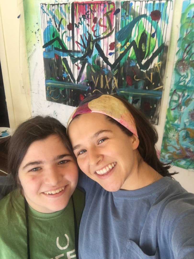 Cierra and Allegra after wisdom painting
