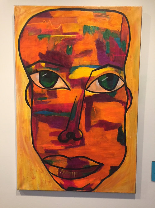 Earth Man Original Acrylic Intuitive Channeled Painting
