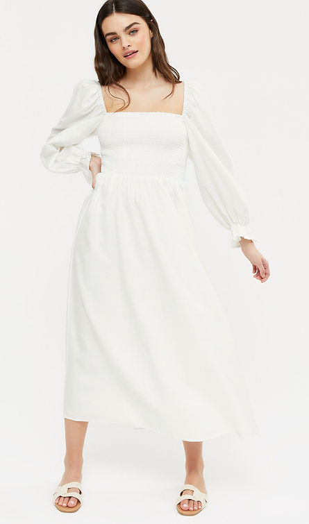 New Look Puff Sleeve Midi Size 18 croppe