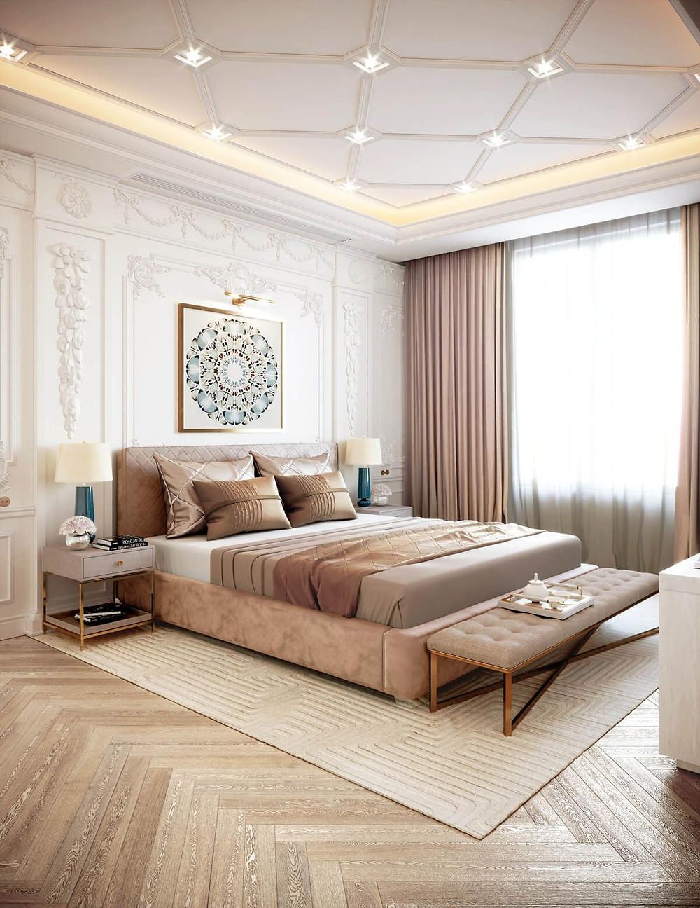 Single Layered False Ceiling, false ceiling ideas, geometric false ceiling designs, lakkad works, home interiors, bedroom