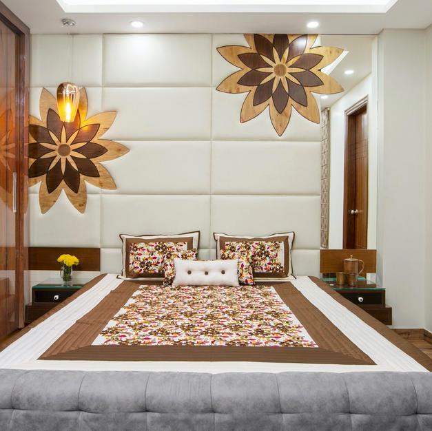 A vibrant bedroom interior