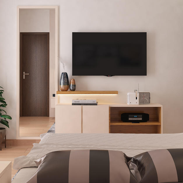 Tv unit with closed and open storages