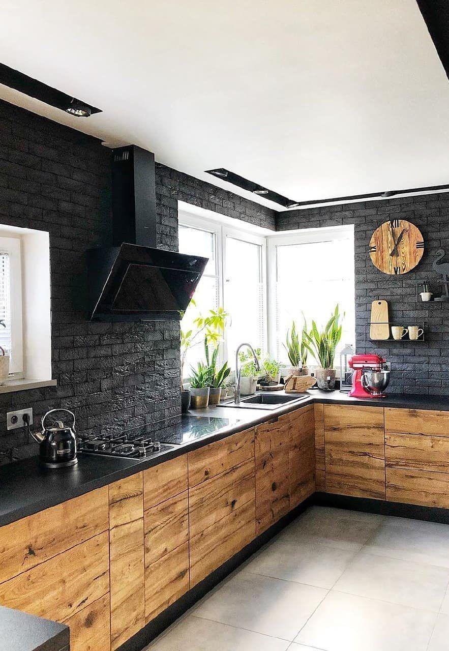 Brick wall. Modular eco - friendly kitchen. Rustic look. Custom built. Lakkad Works