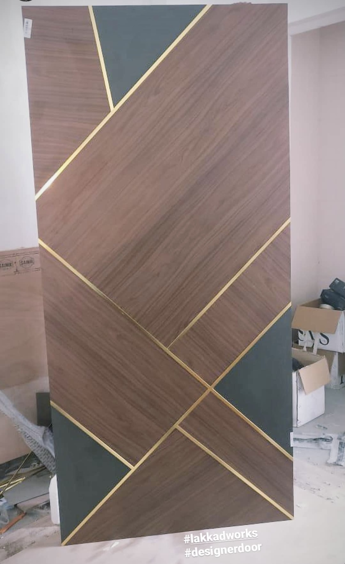 Door Panel with inlay metal strip