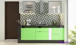 Parrot green kitchen in Eldeco Noida