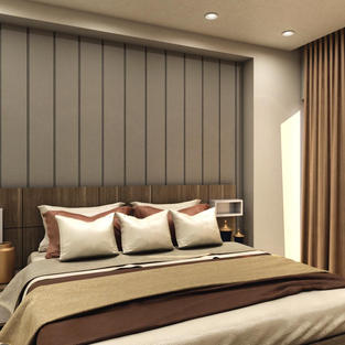 Bedroom designed with subtle back panel and long headboard