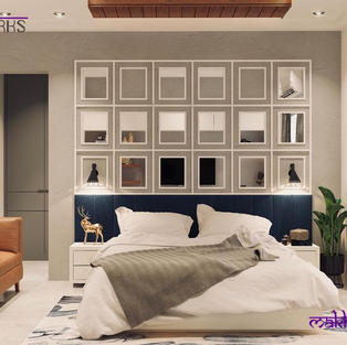 Bedroom design with a mirror featured wall