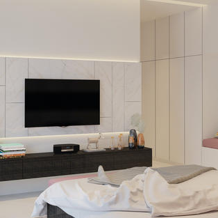 Tv Unit with matching wall panel and UV Finished Drawers
