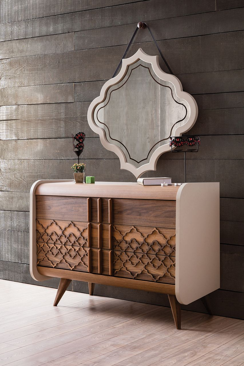 hand crafted panelled console, custom built wooden furniture, organic interior decor, lakkadworks