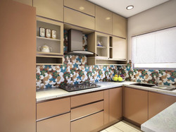 Colorful Backsplash with subtle cabinet finish