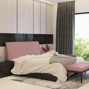 Panelled wall with bed and side table