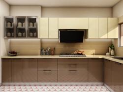 capucchino beige and cream kitchen designed in Dwarka New Delhi