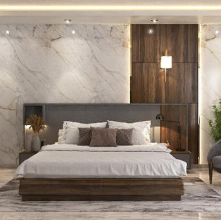 Elite bedroom design with marble finish laminate accent wall