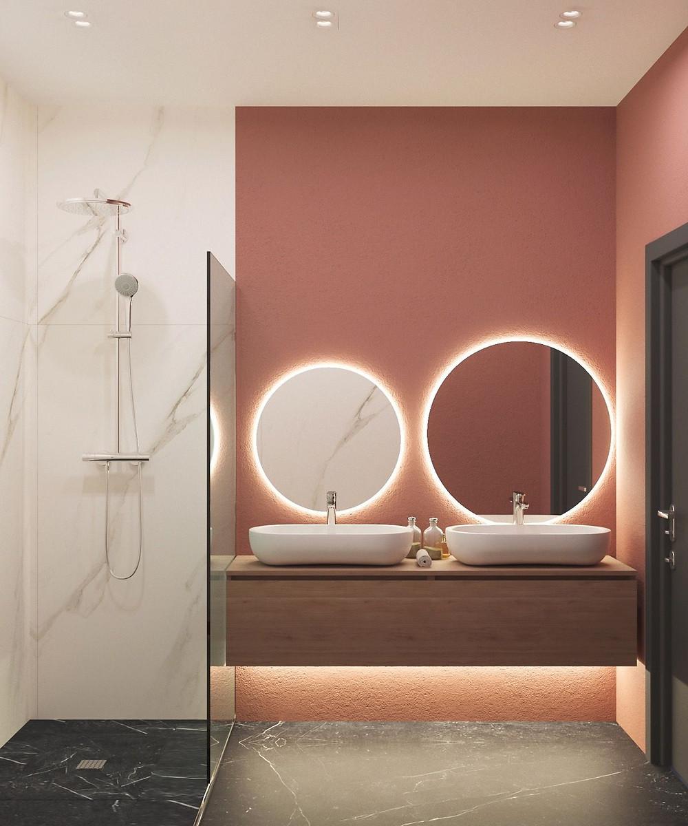 beautiful and functional vanities. lighting around mirror. lakkad works