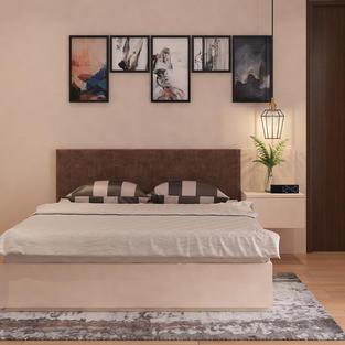 Guest room design with white matte finish wardrobe