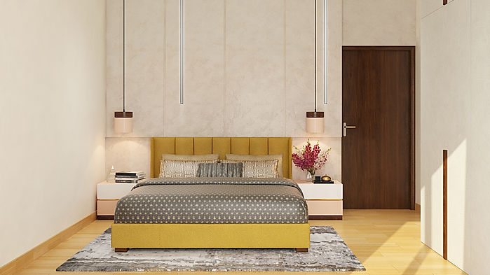 Master bedroom bed wall with back panels