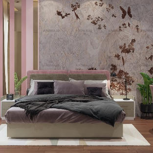 Daughter's room designed in blush pink and concrete grays