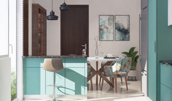 Breakfast counter in a modular kitchen