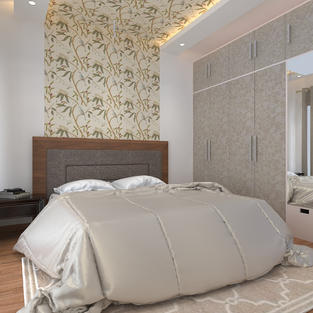 Parent's room with wallpaper in false ceiling