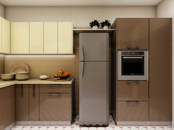 Fridge and appliance unit in kitchen