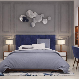 Blue gray bedroom design with wooden tri