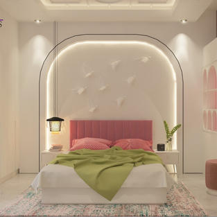 Daughter's room with led lit grooved wall