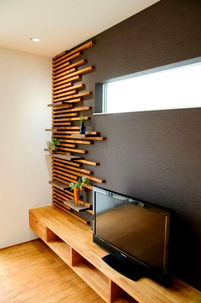 wooden accent on wall. Custom built. Lakkad Works