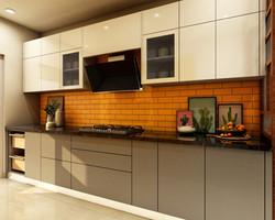 Subtle gray Kitchen with bright orange backsplash