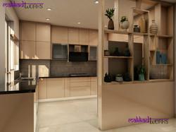U shaped modular kitchen with an elegantly designed divider