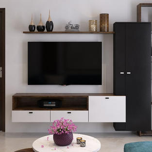 Black and white tv unit with a touch of wood veneer on top