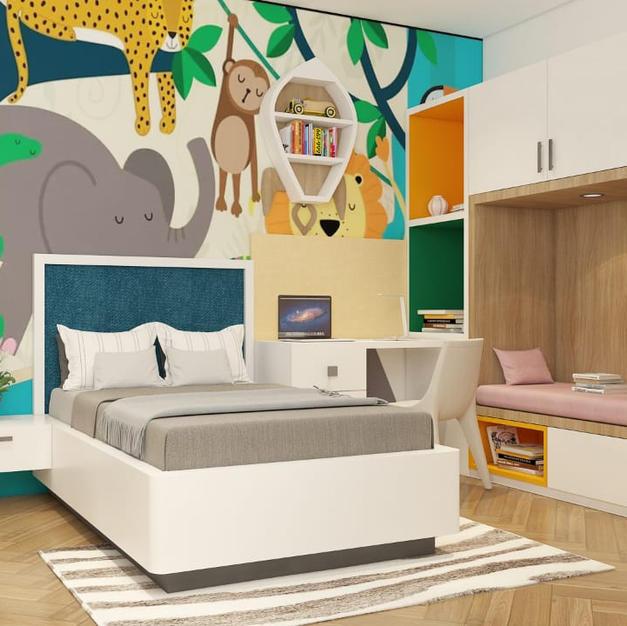 Jungle theme kids bedroom design