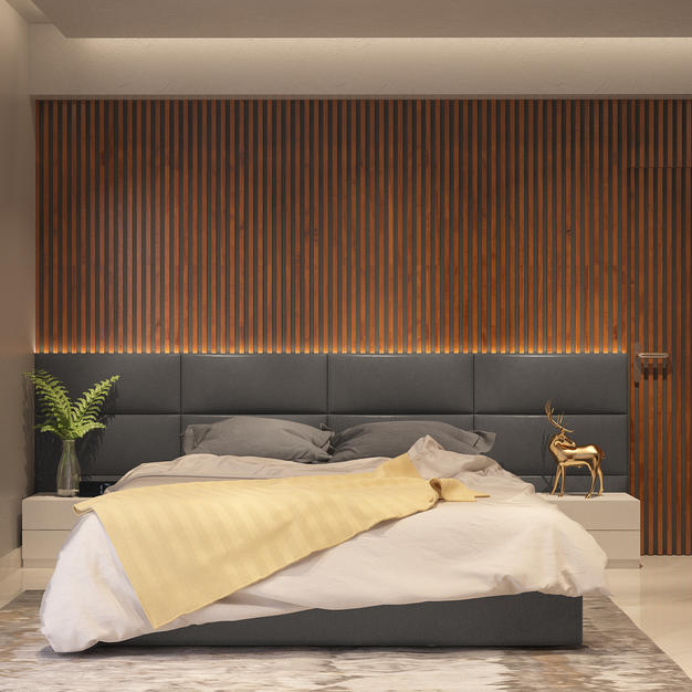 Bedroom design with side lounge chair an