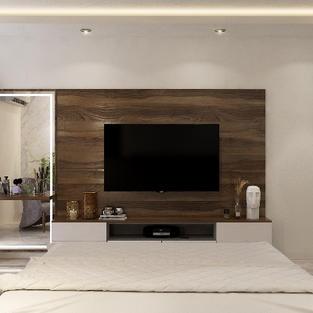 Dresser cum Tv unit with veneer finish back panel