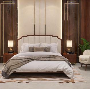 Beige Altro bedroom design with 2 level